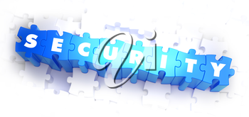 Security - Text on Blue Puzzles on White Background. 3D Render.