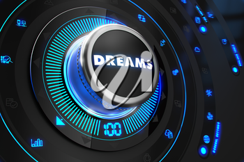 Dreams Controller on Black Control Console with Blue Backlight. Improvement, regulation, control or management concept.