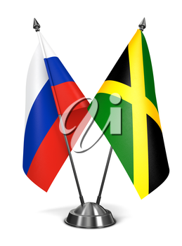 Russia and Jamaica - Miniature Flags Isolated on White Background.