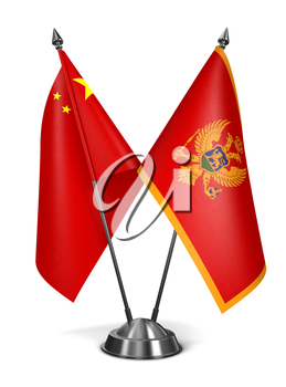 China and Montenegro - Miniature Flags Isolated on White Background.