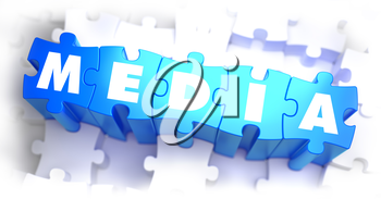 Media - Word on Blue Puzzles on White Background. 3D Render.