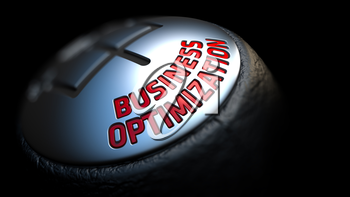 Business Optimization. Control Concept. Gear Lever on Black Background. Close Up View. Selective Focus. 3D Render.