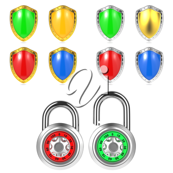 Set of Colored Shields and Padlock. 3d Security Concept. Isolated on White.