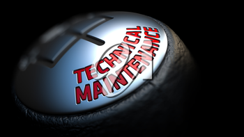 Technical Maintenance. Shift Knob with Red Text on Black Background. Close Up View. Selective Focus. 3D Render.