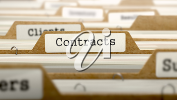 Contracts Concept. Word on Folder Register of Card Index. Selective Focus.