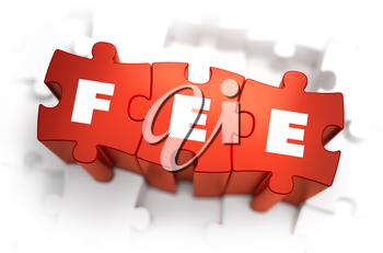 Fee - Text on Red Puzzles with White Background. 3D Render.