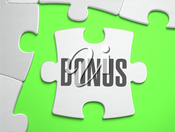 Bonus - Jigsaw Puzzle with Missing Pieces. Bright Green Background. Close-up. 3d Illustration.
