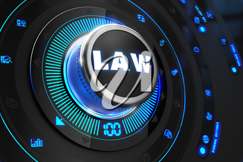 Law Controller on Black Control Console with Blue Backlight. Improvement, Regulation, Control or Management Concept.