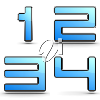Digits 1,2,3,4 - Set of 3D Digits in Touchpad Style.