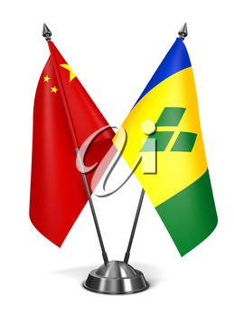 China, Saint Vincent and Grenadines - Miniature Flags Isolated on White Background.