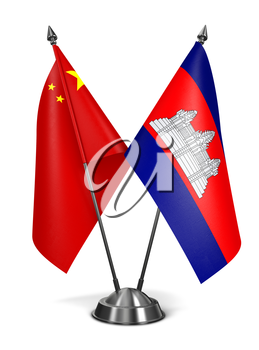 China and Cambodia - Miniature Flags Isolated on White Background.
