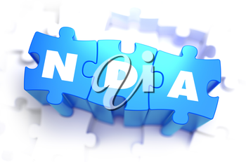 NDA - Non Disclosure Agreement - Text on Blue Puzzles on White Background. 3D Render.