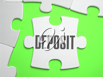 Deposit - Jigsaw Puzzle with Missing Pieces. Bright Green Background. Close-up. 3d Illustration.