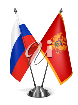 Russia and Montenegro - Miniature Flags Isolated on White Background.