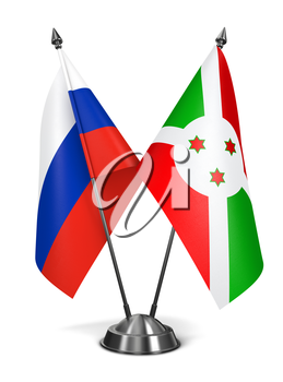 Russia and Burundi - Miniature Flags Isolated on White Background.