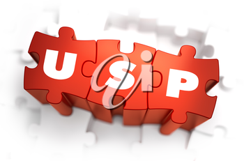 USP - Unique Selling Point - White Word on Red Puzzles on White Background. 3D Illustration.