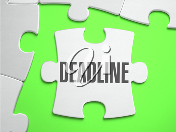Deadline - Jigsaw Puzzle with Missing Pieces. Bright Green Background. Close-up. 3d Illustration.