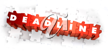 Deadline - Text on Red Puzzles on White Background. 3D Render.