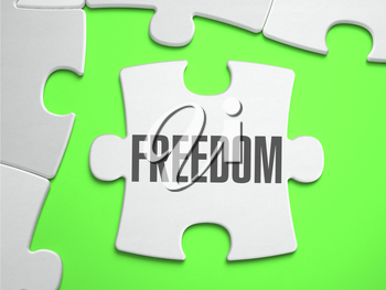 Freedom - Jigsaw Puzzle with Missing Pieces. Bright Green Background. Close-up. 3d Illustration.