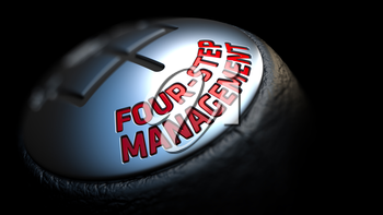 Four-Step Management - Red Text on Car's Shift Knob on Black Background. Close Up View. Selective Focus.