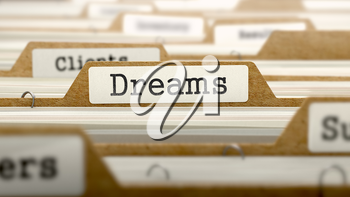 Dreams Concept. Word on Folder Register of Card Index. Selective Focus.