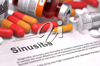 Diagnosis - Sinusitis. Medical Report with Composition of Medicaments - Red Pills, Injections and Syringe. Selective Focus.