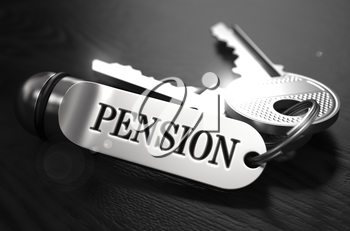 Pension Concept. Keys with Keyring on Black Wooden Table. Closeup View, Selective Focus, 3D Render. Black and White Image.