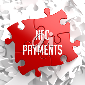 NFC Payments on Red Puzzle on White Background.