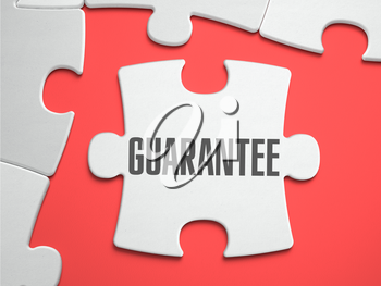 GUARANTEE - Text on Puzzle on the Place of Missing Pieces. Scarlett Background. Close-up. 3d Illustration.