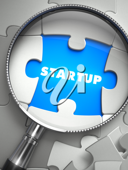 Startup through Lens on Missing Puzzle Peace. Selective Focus. 3D Render.