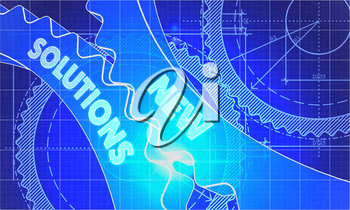 New Solutions Concept. Blueprint Background with Gears. Industrial Design. 3d illustration, Lens Flare.