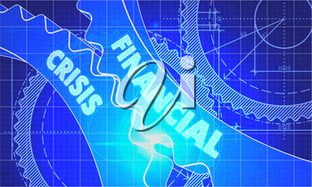 Financial Crisis on the Mechanism of Cogwheels. Technical Blueprint illustration with Glow Effect. 3D Render.