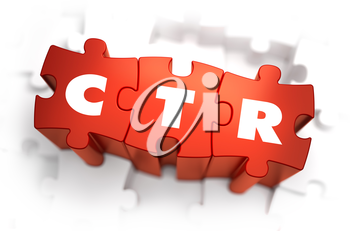 CTR - Click Through Rate - White Word on Red Puzzles on White Background. 3D Illustration