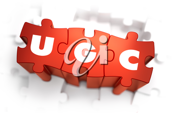 Word - UGC - User Generated Content -  on Red Puzzle on White Background. Selective Focus.
