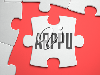 ARPPU - Average Revenue Per Paying User - Text on Puzzle on the Place of Missing Pieces. Scarlett Background. Close-up. 3d Illustration.