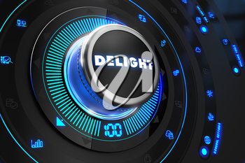 Delight Controller on Black Control Console with Blue Backlight. Improvement, regulation, control or management concept.