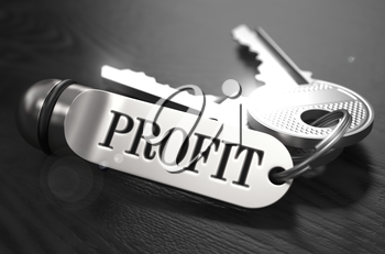 Keys to Profit - Concept on Golden Keychain over Black Wooden Background. Closeup View, Selective Focus, 3D Render. Black and White Image.