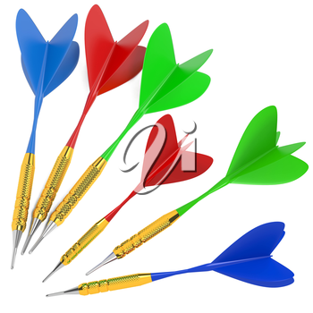 Green Dart Got to Center of Red Dart and Broke It.Hitting a Target Concept.