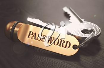Keys with Word Password on Golden Label over Black Wooden Background. Closeup View, Selective Focus, 3D Render. Toned Image.