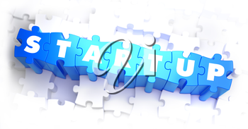 Startup - White Word on Blue Puzzles on White Background. 3D Render.