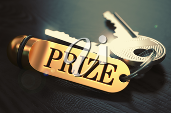 Prize - Bunch of Keys with Text on Golden Keychain. Black Wooden Background. Closeup View with Selective Focus. 3D Illustration. Toned Image.