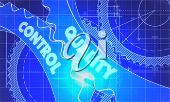 Quality Control Concept. Blueprint Background with Gears. Industrial Design. 3d illustration, Lens Flare.