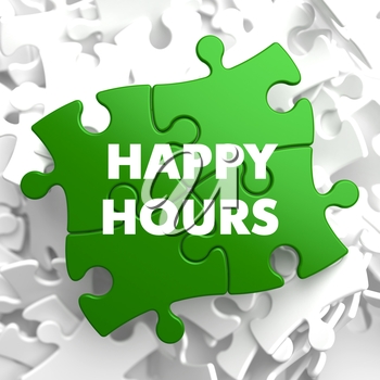 Happy Hours on Green Puzzle on White Background.