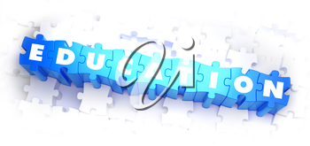 Education - White Word on Blue Puzzles on White Background. 3D Illustration.