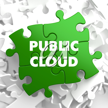 Public Cloud on Green Puzzle on White Background.