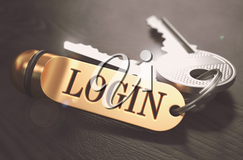 Login Concept. Keys with Golden Keyring on Black Wooden Table. Closeup View, Selective Focus, 3D Render. Toned Image.