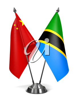 China and Tanzania - Miniature Flags Isolated on White Background.