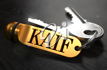 Keys with Word Kaif  on Golden Label over Black Wooden Background. Closeup View, Selective Focus, 3D Render.