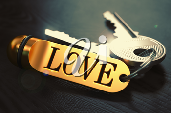 Love - Bunch of Keys with Text on Golden Keychain. Black Wooden Background. Closeup View with Selective Focus. 3D Illustration. Toned Image.