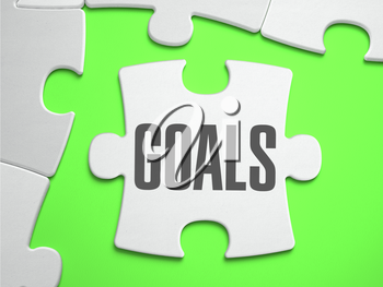 Goals - Jigsaw Puzzle with Missing Pieces. Bright Green Background. Close-up. 3d Illustration.
